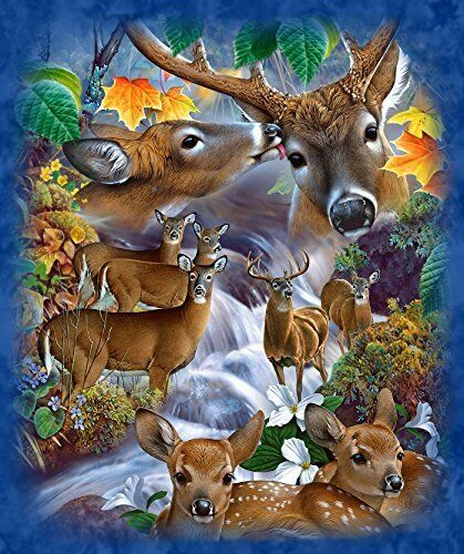 """""""deer Stream"""" Throw Blanket With Sherpa Lining 50""""x60"""""""
