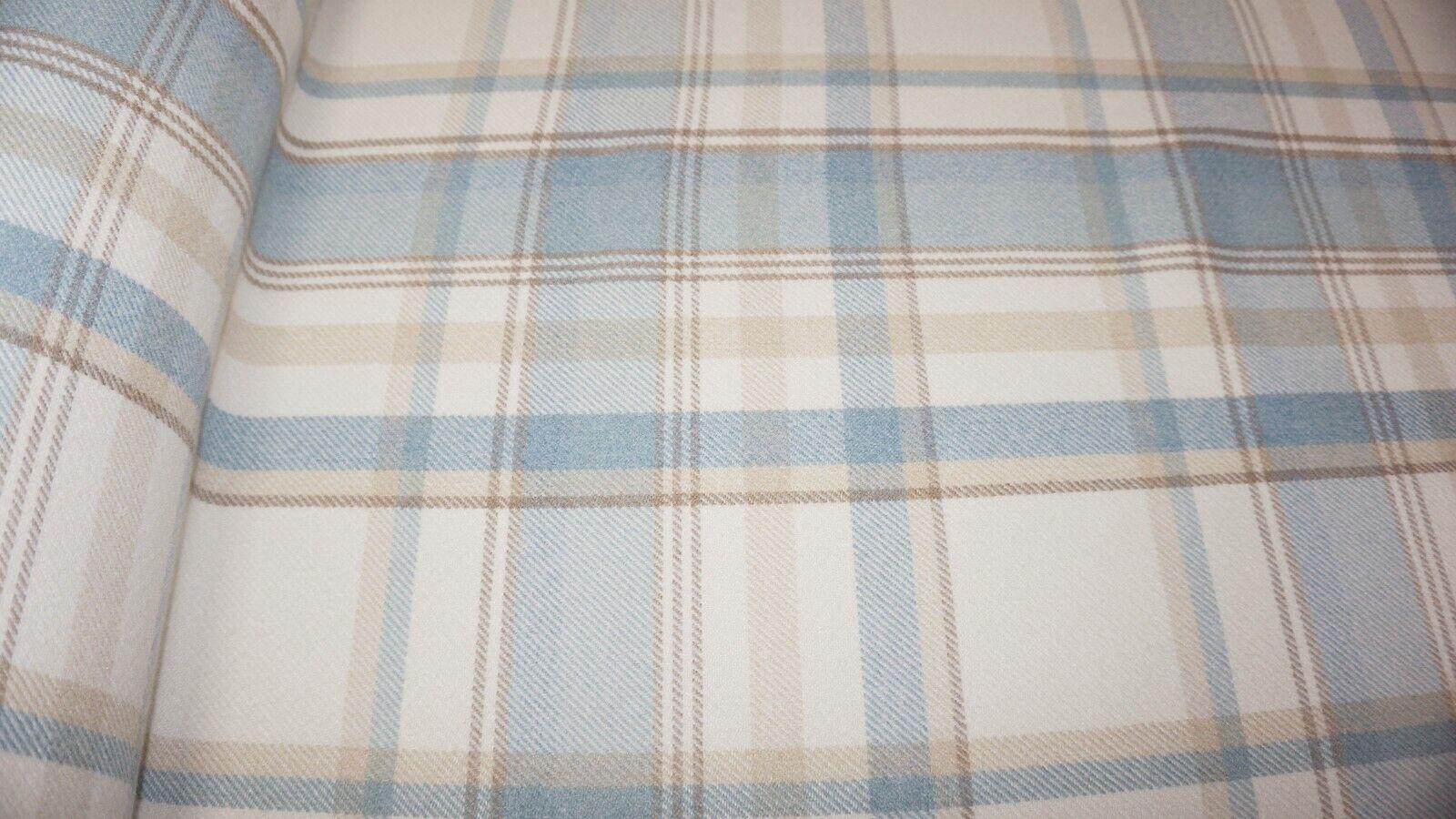 Parisian Balmoral Wool Effect Tartan Upholstery Curtain Fabric SKY BLUE Skye