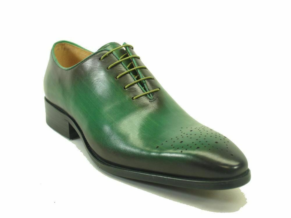 Carrucci Men's Leather Whole Cut Oxford - Olive Dress scarpe KS503-36
