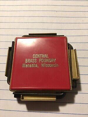 Vintage Metal Ruler Gold Brass Tone National Bank Kenosha Advertising Wisconsin