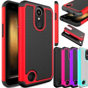 Image is loading For-LG-K20-Plus-K20V-TP260-Slim-Hybrid- For LG K20 Plus/ K20V TP260 Slim Hybrid Shockproof Rubber Armor Case