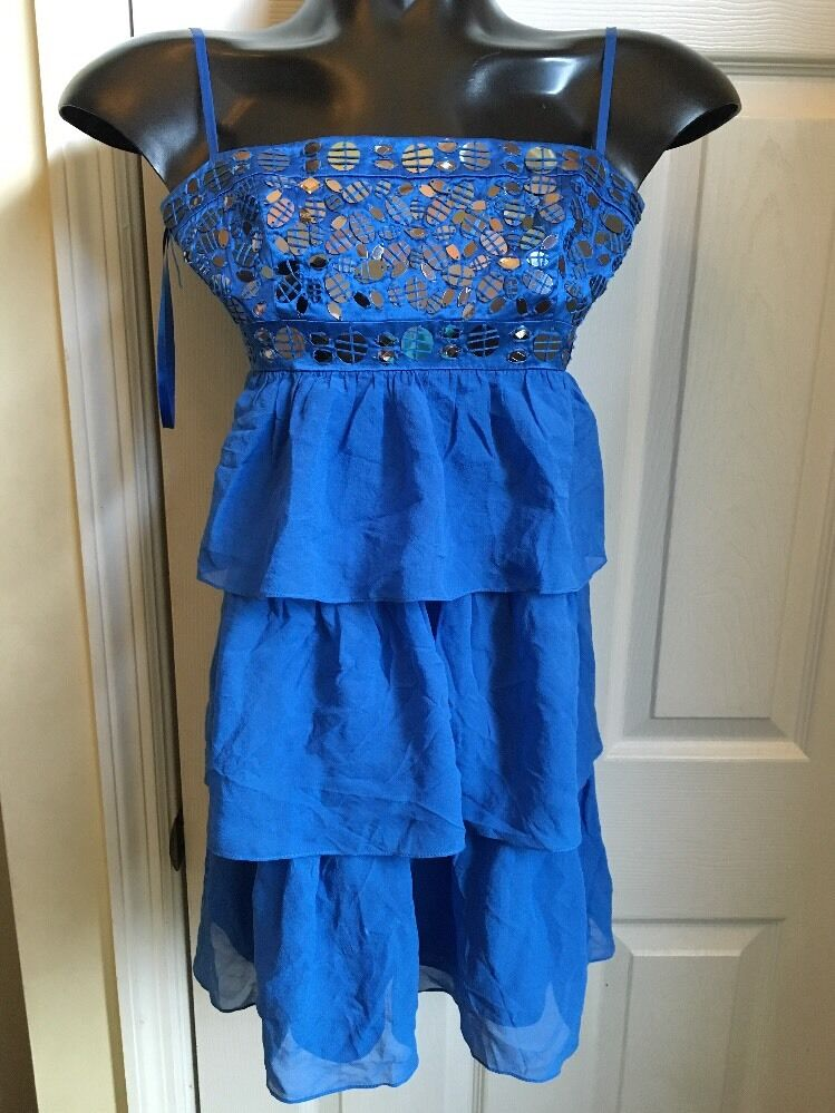 BCBG MAX AZRIA 100% Silk bluee Dress Sz 0