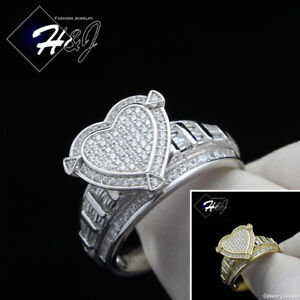 WOMEN-925-STERLING-SILVER-GOLD-SILVER-BLING-HEART-SHAPE-ENGAGEMENT-RING-SR88