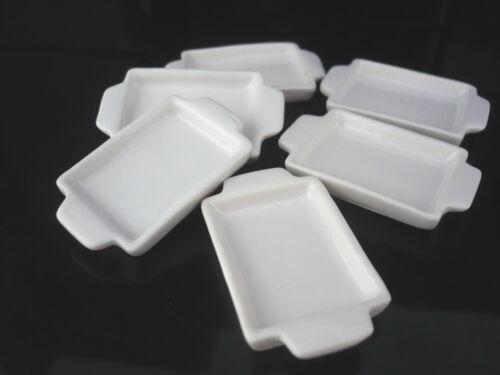 18 x 25 mm. Set of 6 White Baking Pan/Tray Dollhouse Miniatures Supply Deco