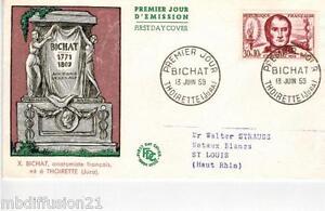 1959-ENVELOPPE-FDC-1-JOUR-XAVIER-BICHAT-JURA-TIMBRE-Y-T-1211