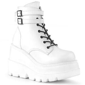 "Demonia SHAKER-52 White 4 1/2"" Chunky Heel Wedge Platform  Women's Ankle Boot"