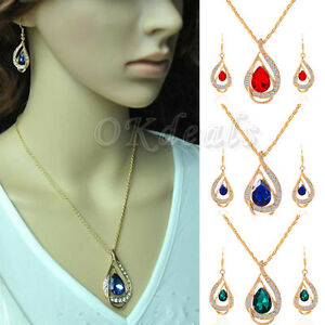 Mujer-Collar-Gargantilla-Colgante-Cristal-Gato-Pendientes-Aretes-Kit