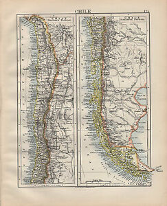 Map Of America 1900.1900 Victorian Map South America Chile Northern Southern