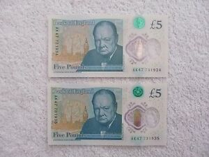 NEW-POLYMER-5-POUND-NOTES-CONSECUTIVE-UNCIRCULATED-PAIR-Serial-no-AK47-731935