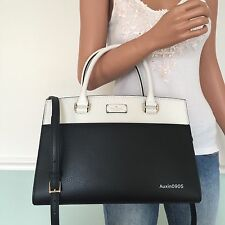 NEW! KATE SPADE Gorgeous Black White Leather Satchel Tote Shoulder Bag Purse
