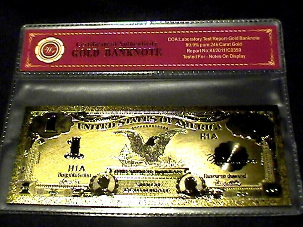 99.9/% 24K GOLD 1928 $20 GOLD CERTIFICATE BILL US BANKNOTE IN PVC SLEEVE W COA