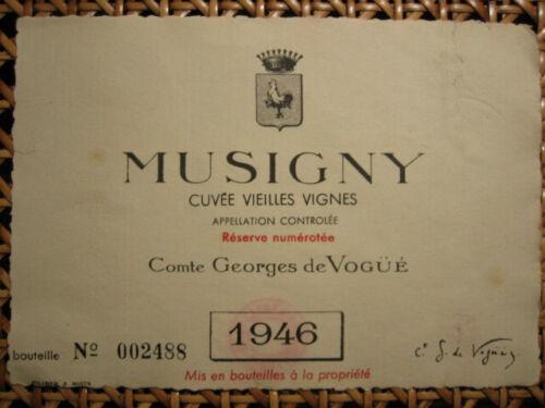Etiquette Wine label Grand Cru Bourgogne Musigny de Vogüe 1946 numérotée