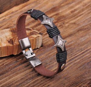 Jg565 Brown Rock Studded Friendship Leather Hemp Bracelet Bangle