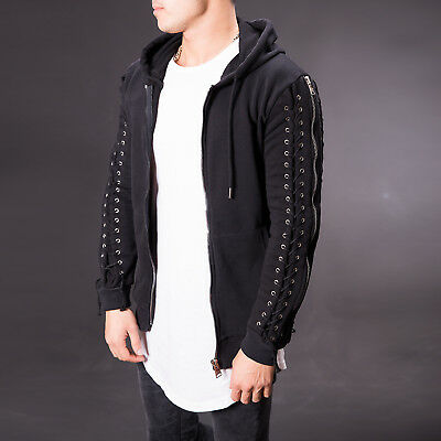 Black Mens Cardigan Sleeve Zipper Detail Slim Fit Sweater Fast Shipping 3609