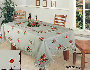 Christmas embroidered red poinsettia tablecloth 70x140 for 12 days of christmas table cloth
