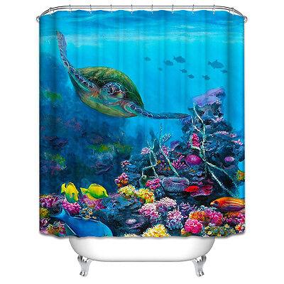 Turtle Underwater Shower Curtain Set Ocean Tropical Sea Fish Colorful Nautical