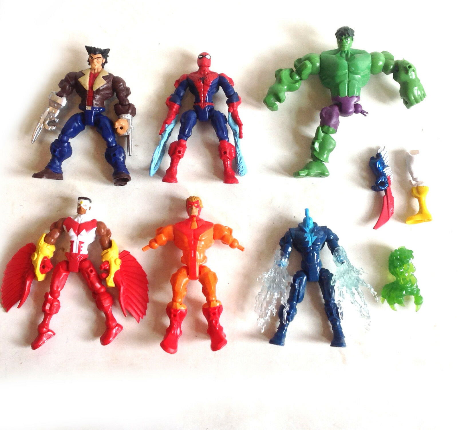MARVEL SUPERHERO MASHERS TOYS 3 complete figures & other other other for swapping parts 84411b