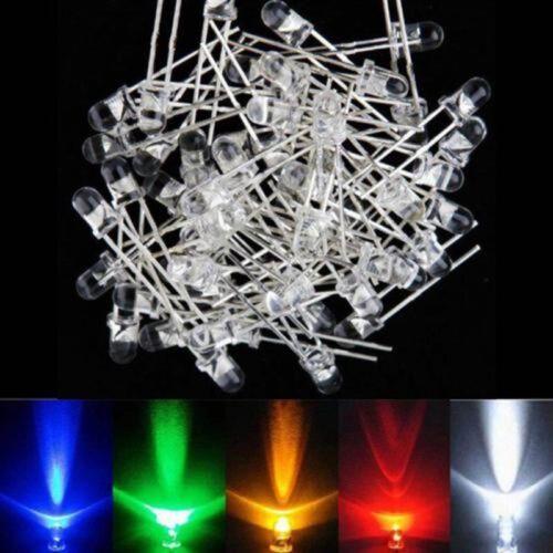 3mm Ultra Bright Water Clear LED Bulb Green LED Light Emitting Diode 100Pcs