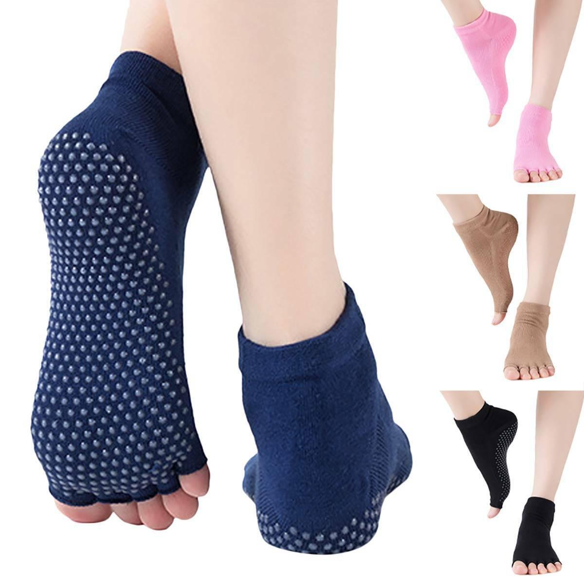 Women's Bella Grip Cotton Non Slip Socks for Ballet Yoga Pilates Sock Half Toe