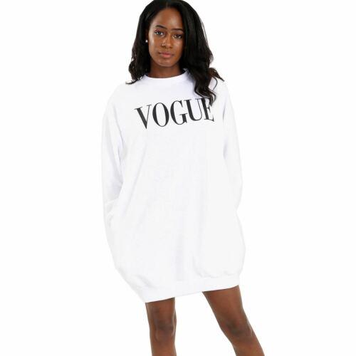 Femme Femmes Vogue Slogan palangre Fleece Sweat-shirt Surdimensionné Baggy Pull Top