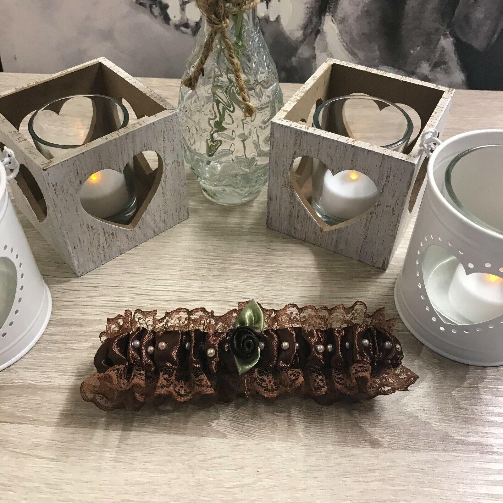 Brown Handmade Garter - Wedding/Hen Night/Fancy Dress (2)