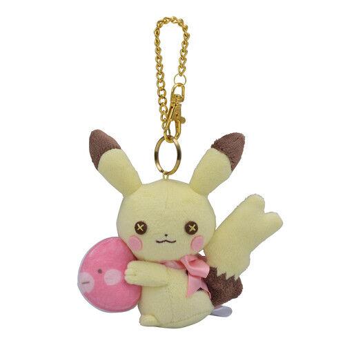 Pokemon Center Original fluffy little pokemon Plush Mascot Key Chain Pikachu