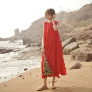 Dama-Vestido-sin-mangas-plisada-a-la-cintura-con-cordon-suelto-Capas-Holgado-Largo-Maxi-Rojo