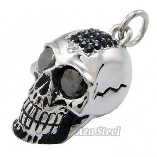 "Men's Big Heavy Black CZs Skull Biker Stainless Steel Pendant 21"" Free Necklace"