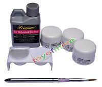 Acrylic Basis Nail Art Tip Kit Set Nail Wash Water 3 Color Acrylic Powder 424