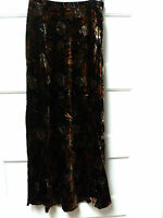ropa Brand Printed Velvet A-line Skirt, Brown Multi, Size Medium,