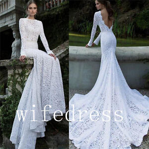 2017 Long Sleeve Mermaid Wedding Bridal Lace Dresses Open Back Gowns ...