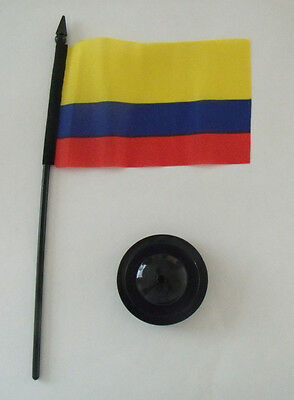 """Ruimdenkende Bandera Colombia Desk Flag 4"""" X 6"""" Order With Or Without Stand"""