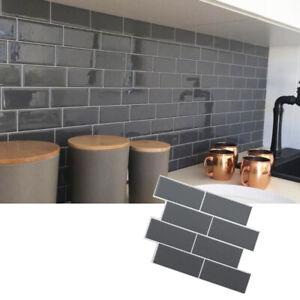 3d Self Adhesive Wall Sticker Tile Sticker Decal Kitchen Bathroom Home Decor Diy Ebay