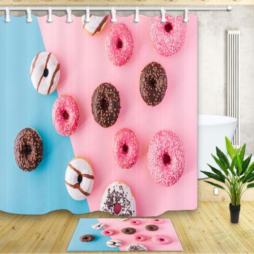 Chocolate Donut Shower Curtain Bathroom Decor Fabric /& 12hooks 71x71inches