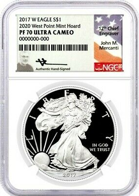 2017 W PROOF SILVER EAGLE NGC PF70 MERCANTI /' 2020 WEST POINT MINT HOARD /' BLACK
