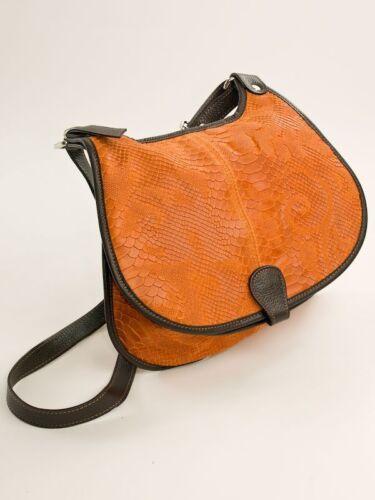 vera Ital Borsa Borsa tracolla in design arancione con pelle di messenger a tracolla ZfwZqvBR