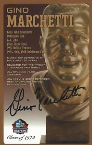 Gino Marchetti Baltimore Colts  Football Hall Of Fame Autographed Bust Card