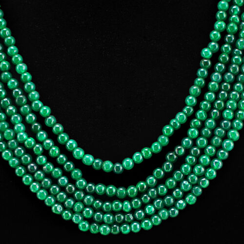 BEST QUALITY 337.00 CTS EARTH MINED GREEN EMERALD 5 LINE ROUND BEADS NECKLACE