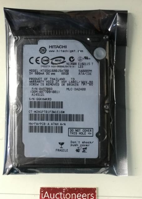 """Hitachi 80GB IDE 5400RPM ATA-100(Ultra) 2.5"""" HTS541680J9AT0 0A57893 DA2400 HDD"""
