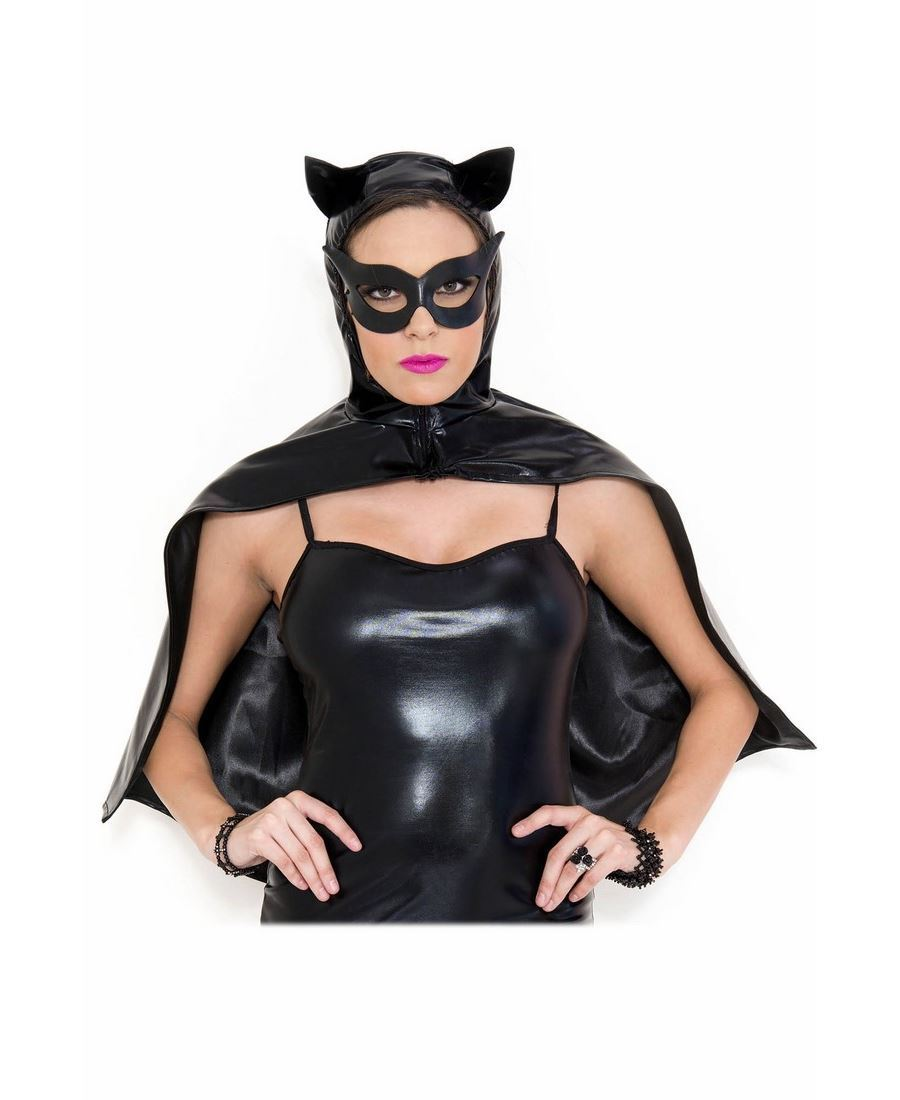 Wet Look Cat Cape With Mask - Music Legs 70677