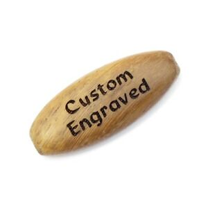 Custom Engraved or Personalized 35x15 mm Light Brown Wood Flat Oval Beads