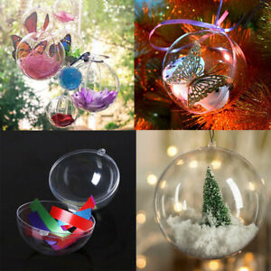 Five 120mm Clear PLASTIC CRAFT Balls 2-part Spheres Baubles Favours Wedding Xmas