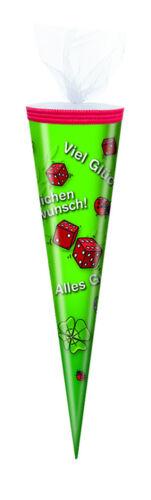 """Schultüte rund /""""Viel Glück/"""" Länge Tüllverschluss 35cm"""