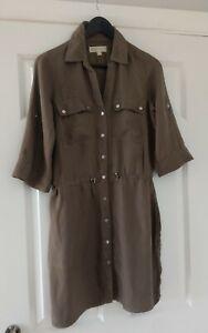 Michael-Kors-Ladies-Brown-Elasticated-Waist-Safari-Dress-Size-Small-UK-Size-10