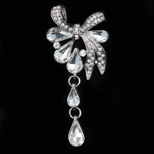 Mujer encantadores arco Pin Rhinestone Gota De Agua Estilo Cristal Pin Broche Joyería Z