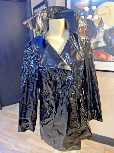 Vtg MOSSIMO  Black PVC Wet Look Trench Rain Coat