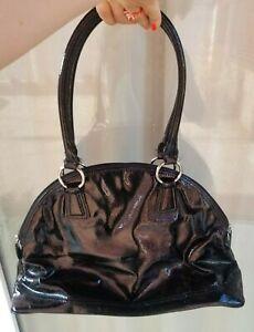 ANN-TAYLOR-Handbag-Satchel-Black-Nylon-amp-Faux-Patent-Leather-Shoulder-Bag-Purse