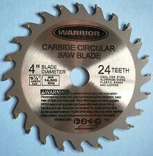 "Carbide Tipped Circular Saw Blade 4"" Diameter 24 Teeth 1/2"" Arbor Hole New"