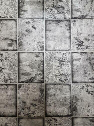 Marbre Carrelage Effet Papier Peint Black Silver Metallic Shine Salle de Bain Cuisine Vinyle