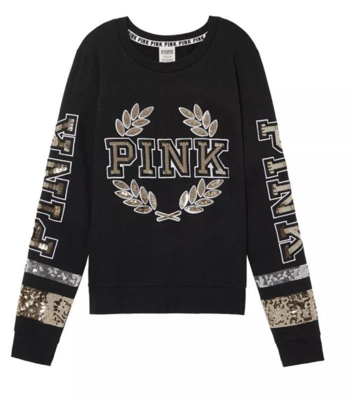 Victoria's Geheim Pink Paillette Bling Perfect Crew Pullover Schwarz S Ausreichende Versorgung